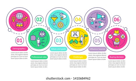 Buyer persona vector infographic template. Business presentation design elements. Data visualization with 6 steps and options. Process timeline chart. Workflow layout with linear icons
