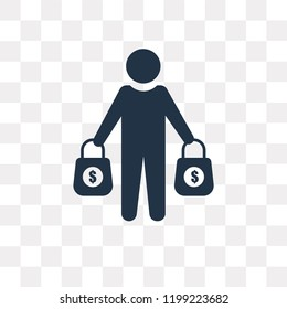 Buyer vector icon isolated on transparent background, Buyer transparency concept can be used web and mobile