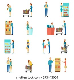 Buyers and customers people man and woman shopping choice flat color icon set isolated vector illustration