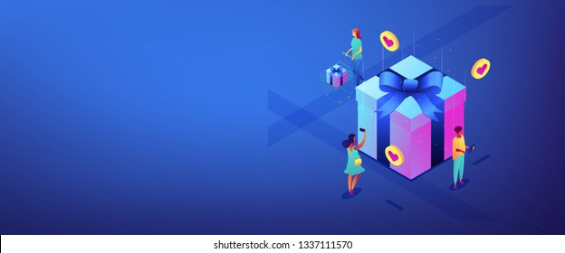 Buyers with gadgets at huge gift box choose best presents to buy online. Online mobile catalog, choosing gift idea, gift finder application concept. Isometric 3D banner header template copy space.