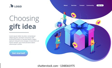 Buyers with gadgets at huge gift box choose best presents to buy online. Online mobile catalog, choosing gift idea, gift finder application concept. Isometric 3D website app landing web page template