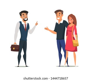 Buyers and real estate agent flat characters. Young family, couple buying property isolated clipart. Customer and salesman vector illustration. Successful business agreement, negotiations