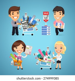 Buyers in Stationery Shop. In the EPS file, each element is grouped separately.