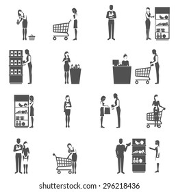 Buyers and supermarket customers black icons set isolated vector illustration
