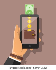 Buying bitcon with cash. Hand holding smartphone with golden bit coins falling into the wallet and dollar banknote. Flat vector cartoon illustration for business app,web banners, sites design