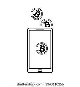 Buying bitcon with cash. smartphone with golden bit coins falling into the wallet. vector illustration for business app, web banners, sites design