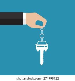 Buying the car. The hand holding the car key. Vector illustration