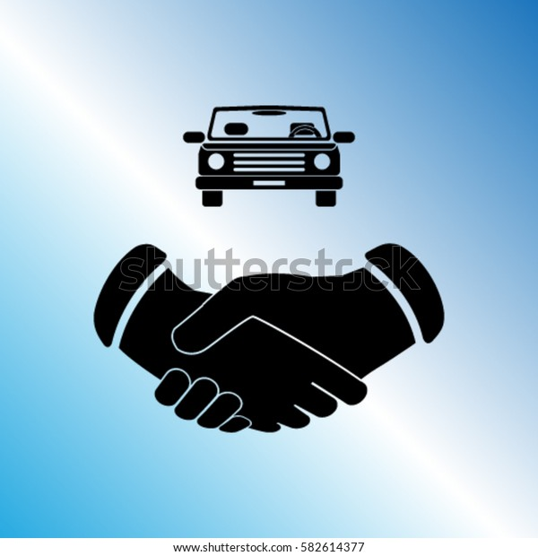 buying a car icon, contract vector illustration