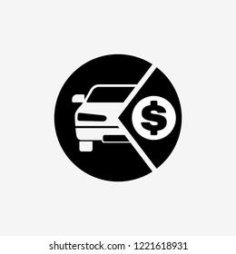 Buying car icon. Car leasing symbol. Flat design. Stock - Vector illustration