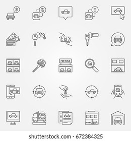 Buying a car icons set - vector car dealership concept symbols or automotive business design elements in thin line style