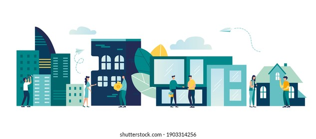 Buying and choosing housing, real estate and turnkey rentals, buildings, skyscrapers, house, vector illustration