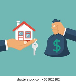 Buying house. Agent of real estate holding in hand house, key. Buyer, customer gives money bag. Deal sale and purchase of real, concept. Vector illustration flat design. Money home.