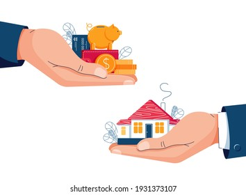 Buying a house vector illustration. Buyer brings money for home purchase dealing. Seller gives house to a customer. Deal sale, mortgage, real estate property concept. Flat cartoon design