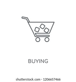 Buying linear icon. Buying concept stroke symbol design. Thin graphic elements vector illustration, outline pattern on a white background, eps 10.