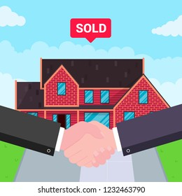 Buying new house on sale. Two hands shaking, big deal agreement flat style vector illustration. New house behind sold for new landlord or houseowner. Good partnership and succesful deal concept.