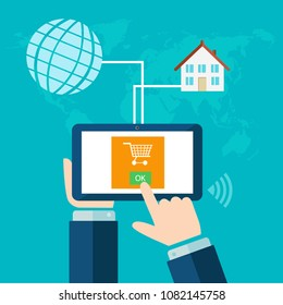 buying over the Internet.The concept of online Commerce. Buy and sell online.