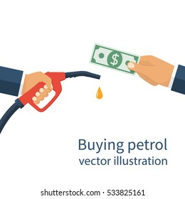 Buying petrol, concept. Payment for fuel. Fuel pump in hand man in exchange for money. Petrol station. Vector illustration flat design style on a white background. Template for gasoline prices.