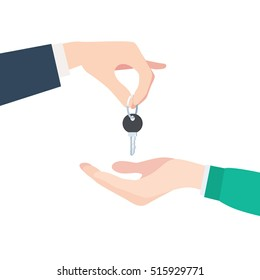 Buying or renting a new apartment or car. Hand giving keys. Vector illustration in trendy flat style, isolated on white background
