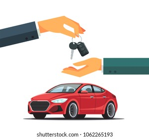 Buying or renting a new or used red car.  Dealer giving keys chain to a buyer hand. Modern flat style vector illustration isolated on white background.