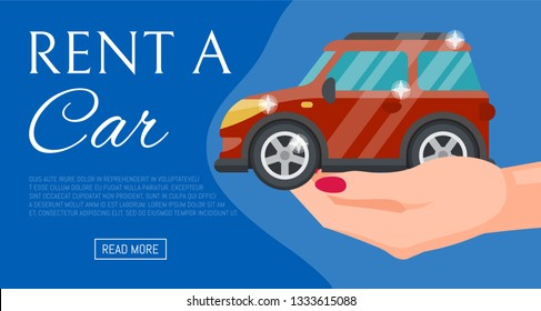 Buying or renting new or used red car banner vector illustration. Car in buyer hand. Rent a car. Modern flat style selling transport flyer. Buying auto rental dealer. Travel vehicle service concept.