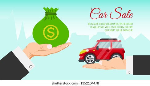 Buying or renting new or used red car banner vector illustration. Car in buyer hand. Car sale. Modern flat style selling transport flyer. Buying auto rental dealer. Travel vehicle service concept.