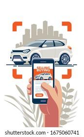 Online-Transport über das Internet über eine mobile App kaufen und verkaufen. Nehmen Sie ein Foto und legen Sie eine Ankündigung auf der Website.