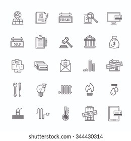 Buying/selling a home real estate outline icons set on white background