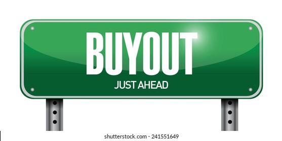 buyout street sign illustration design over a white background