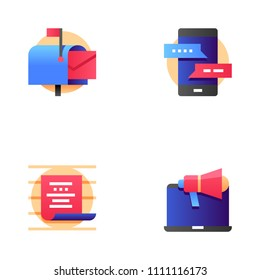 Buzz Marketing and Multichannel Marketing Vector Line Icons Set. Mailing, Correspondence, Communication. Editable Stroke. 48x48 Pixel Perfect.