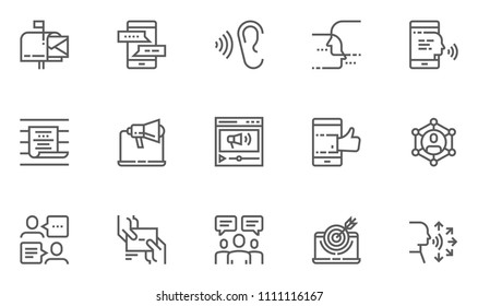 Buzz Marketing Vector Line Icons Set. Digital Marketing, Omni-channel, Multichannel Marketing, Brand Awareness. Editable Stroke. 48x48 Pixel Perfect.