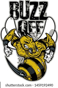buzz off team design with mean wasp or bee mascot for school, college or league