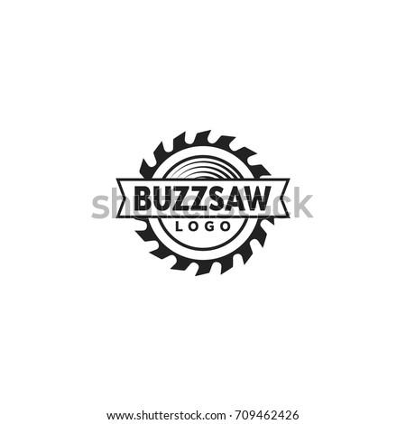 buzz saw logo vector template black stock vector royalty free