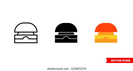 Buzzer icon of 3 types: color, black and white, outline. Isolated vector sign symbol.