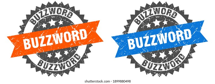 buzzword grunge stamp set. buzzword band sign