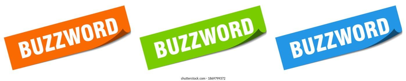 buzzword paper peeler sign set. buzzword sticker