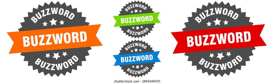 buzzword sign. round ribbon label set. Stamp