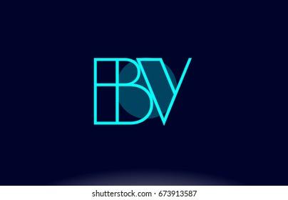 bv b v blue line circle letter logo alphabet creative company vector icon design template