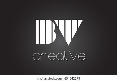 BV B V Creative Letter Logo Design With White and Black Lines.