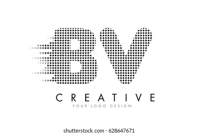 BV B V Letter Logo Design with Black Dots and Bubble Trails.