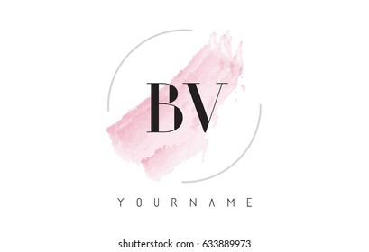 BV B V Watercolor Letter Logo Design with Circular Shape and Pastel Pink Brush.
