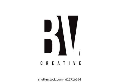 BV B V White Letter Logo Design with Black Square Vector Illustration Template.
