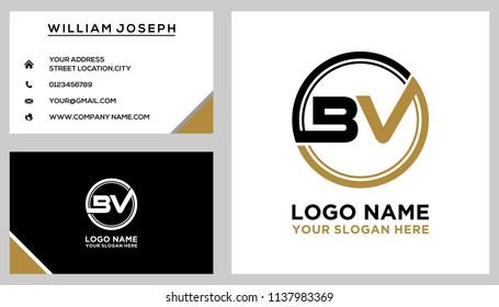 BV initial circle logo template vector