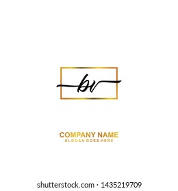 BV Initial handwriting logo template vector
