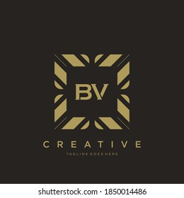 BV initial letter luxury ornament monogram logo template vector.