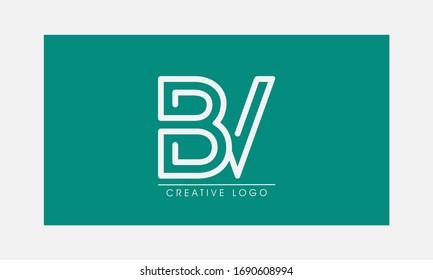 BV initial letters elegant logo, Modern Logo Design Vector