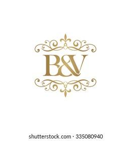 B&V Initial logo. Ornament ampersand monogram golden logo