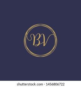 BV Initial logo template, Creative fashion logo design, wedding concept -vector