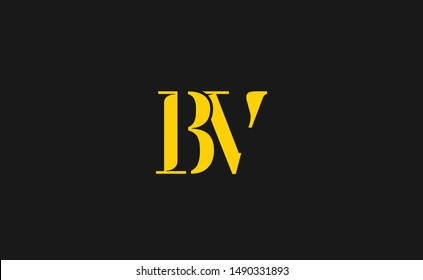BV Letter Logo Design with Creative Modern Trendy Typography