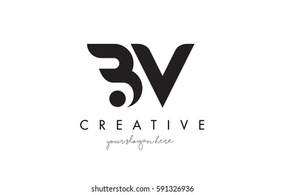 BV Letter Logo Design with Creative Modern Trendy Typography and Black Colors.