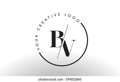 BV Letter Logo Design with Creative Intersected and Cutted Serif Font.